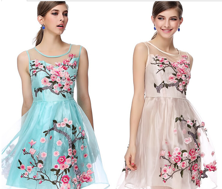 Aliexpress.com : Buy 2014 Brand Designer Women Organza Embroidery ...