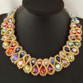 Vintage Woven Chunky Rhinestone Pendants Necklaces Big Choker Chain Collier Femme Bijuox Necklace For Women Fashion jewelry 2016