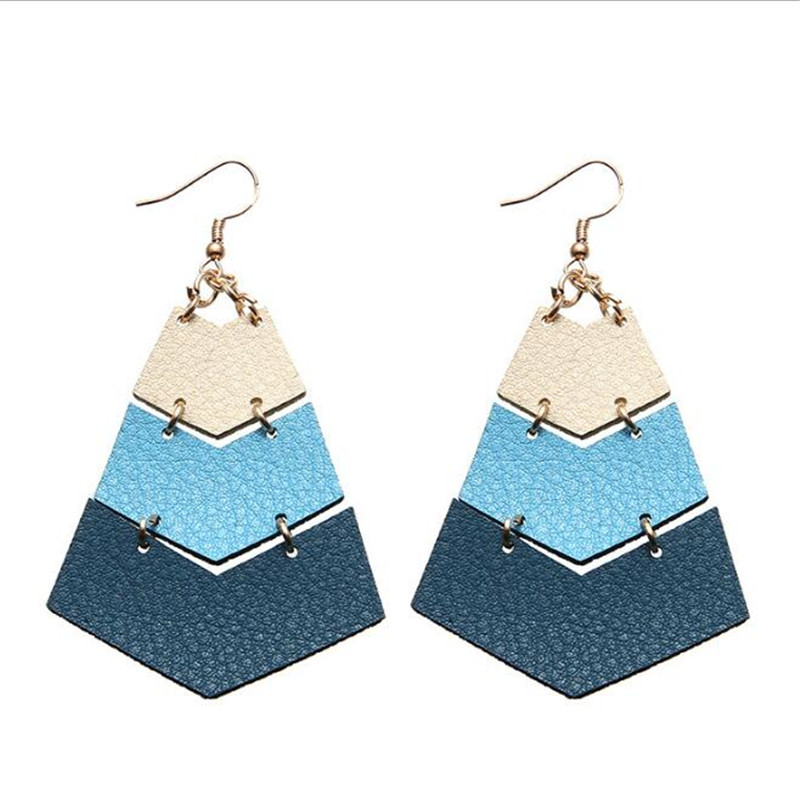 2019 New Fashion Leather Earrings For Women Geometric Leather Drop Earrings Fashion Jewelry Gifts Earrings Accessories in Drop Earrings from Jewelry Accessories