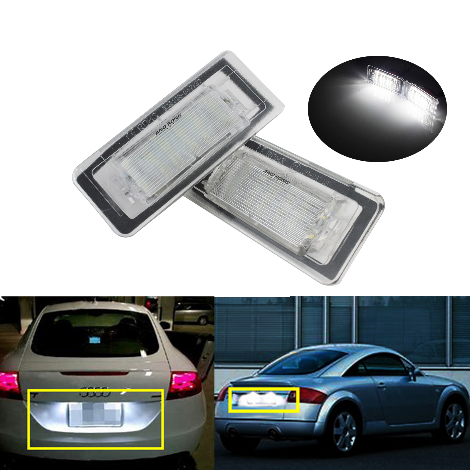 ANGRONG 2x For Audi TT MK1 8N 1999-06 SMD LED License Number Plate Light White Error Free недорго, оригинальная цена