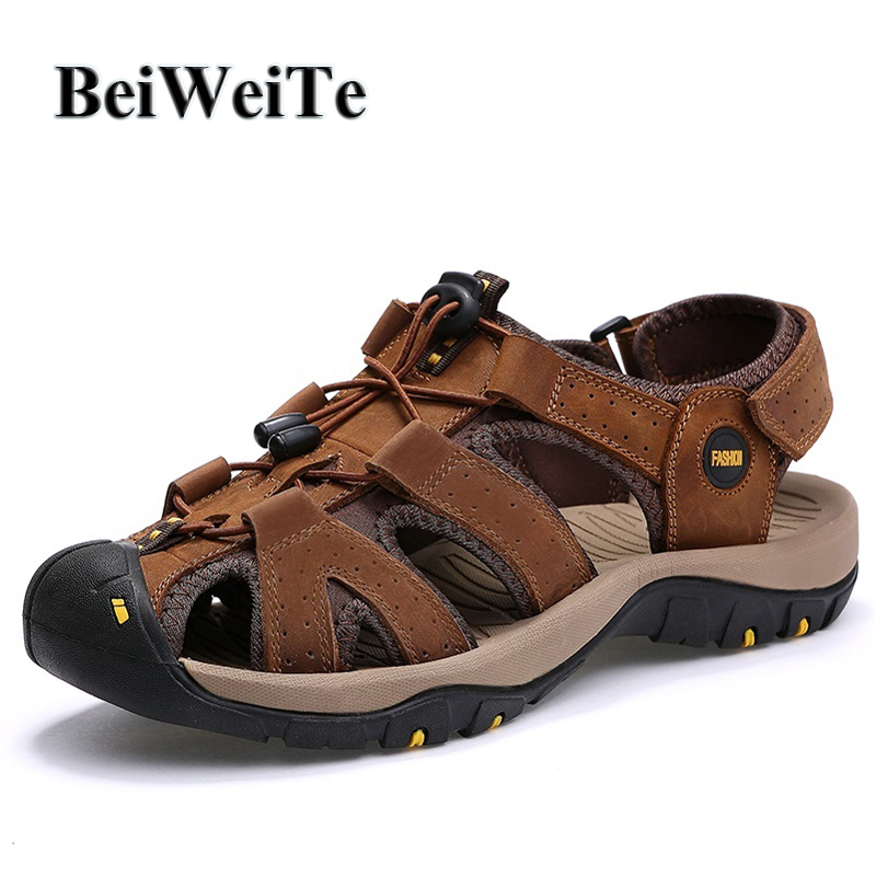 BeiWeiTe Summer Mens Outdoor Sandals Closed Toe Anti-skid Beach Shoes Man Genuine Leather Breathable Walking Fishing Sneakers