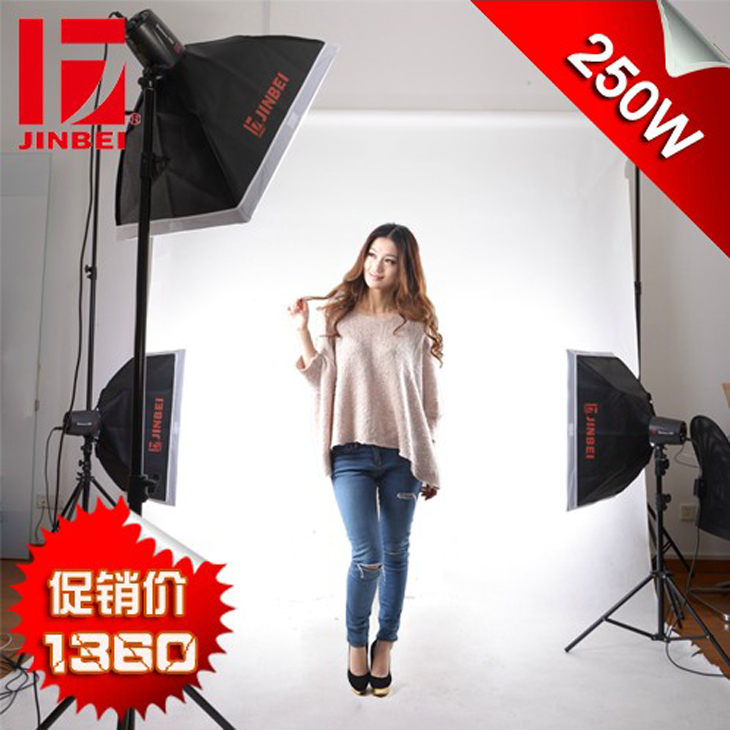 JINBEI Professional Studio Flash 250W D-250 Kit 2, Photographic Flash Kit, Strobe Kit, Photographic Equipment photography set
