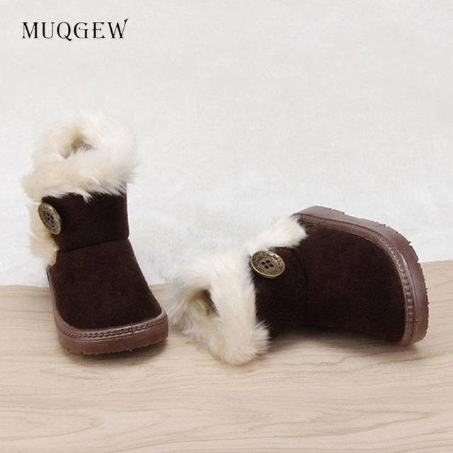 MUQGEW Hot Sale Baby Shoes Fashion Winter Baby Girls Child Suede Fabric Rubber Snow Boots Warm Shoes Kids Xmas Gifts