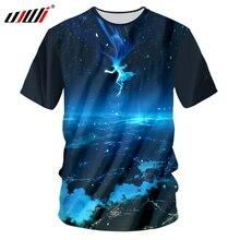 UJWI Mens Grahic Tshirt 2018 Space Galaxy 3D Printed T Shirt Printing Ballet Beauty T-shirts Hombre Brand Clothing Big Size 7XL