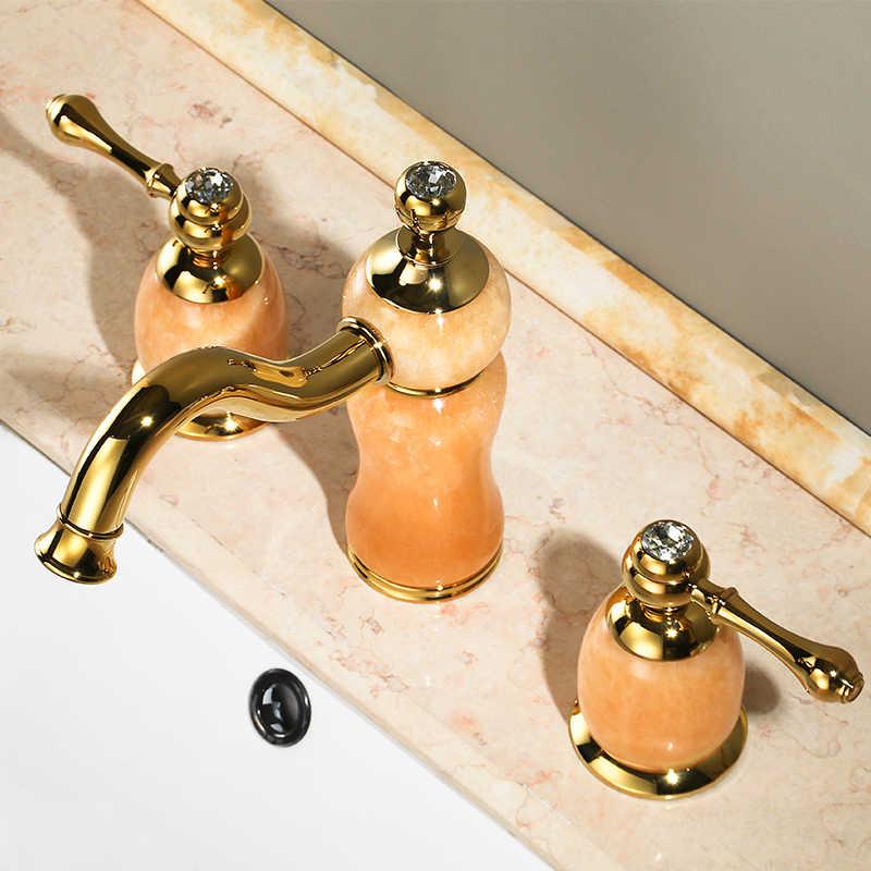 Роскошный золотой латуни натурального нефрита Ванная комната раковина кран Золотой Книги по искусству бассейна Смесители тремя отверстиями туалете смеситель, золотой Отделкой-sm519