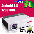 """Free shipping ! Newest 200""""home cinema built in Android 4.42 3200Lumend Full HD  digital1080P  LED 3D TV  Video Game Projector"""