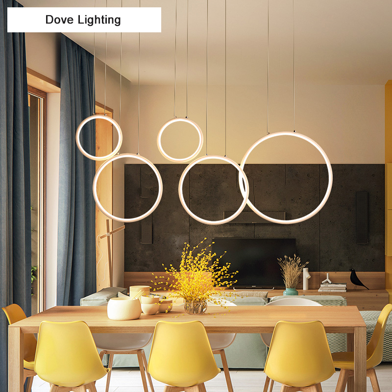 New Modern Pendant Lights LED for Living room Bedroom Circle rings suspension dining room coffee bar Lights Hanging Pendant lamp modern pendant lights spherical design white aluminum pendant lamp restaurant bar coffee living room led hanging lamp fixture