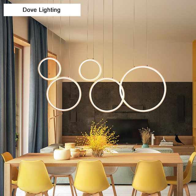 New Modern Pendant Lights LED For Living Room Bedroom Circle Rings  Suspension Dining Room Coffee Bar