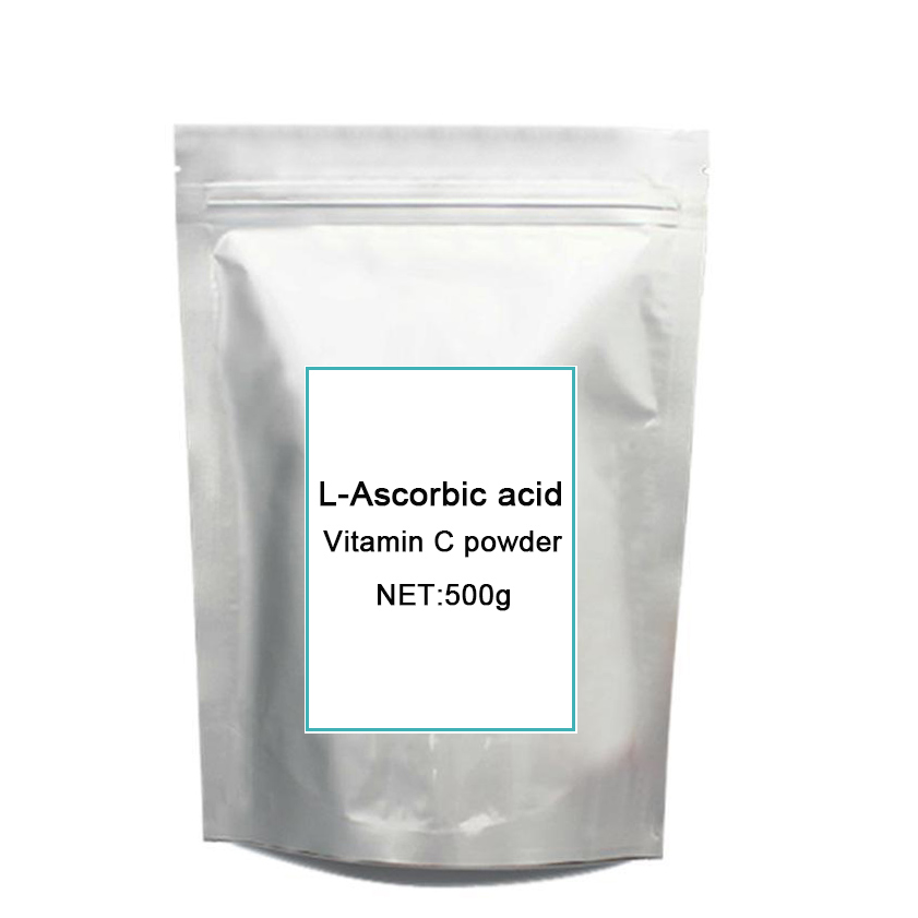 Pure natural vitamin C, L-Ascorbic acid,vitamin C Powd-er,for 500grams free shipping 1kg gmp certified 99% natural lotus leaf powd er slimming tea healthy tea face lift mask powd er hot sale free shipping
