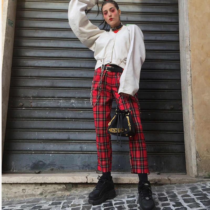 0ef9e8019f ... Cuadros de cintura alta para mujeres recto pantalones Harem tobillo  longitud pantalones para las mujeres 2019 ...