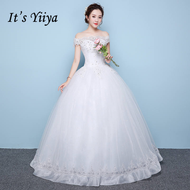 Its Yiiya Off White Boat Neck Sleeveless Hot Bride Gowns Embroidery