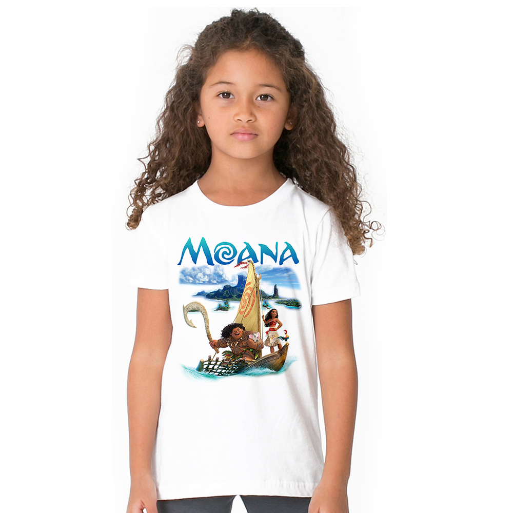 2018 Moana Girl T Shirt Cartoon Princess T-shirts Cotton Short Sleeve Kids Tshirt Children Vaiana Summer Clothes Baby Tops Tees 2018 new 3d cartoon fireman sam print tee tops for boy girl summer short sleeve t shirt children cotton clothes kid tshirt tx041