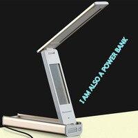 LED Foldable Portable Desk Lamp Calendar Aluminum Shell Touch Sensor Dimmable Reading Lamp USB Power Bank