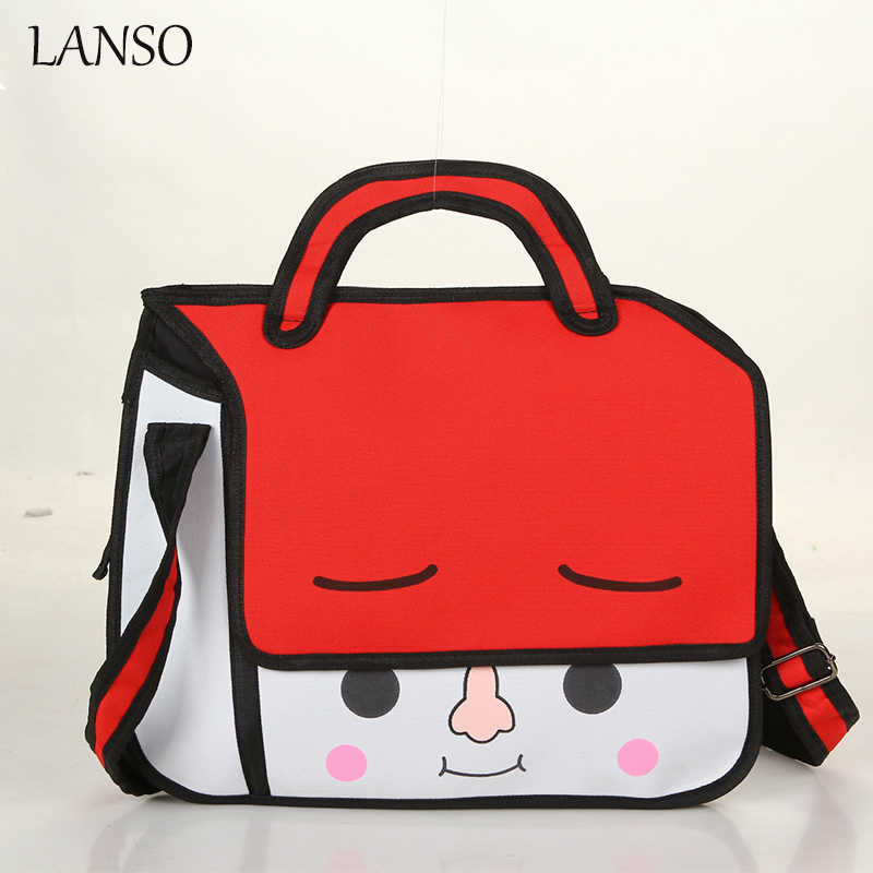 Women Canvas Gismo 3D Jump Style Comic Handbag 2D 3D Drawing Cute Face Ladies Casual Shoulder