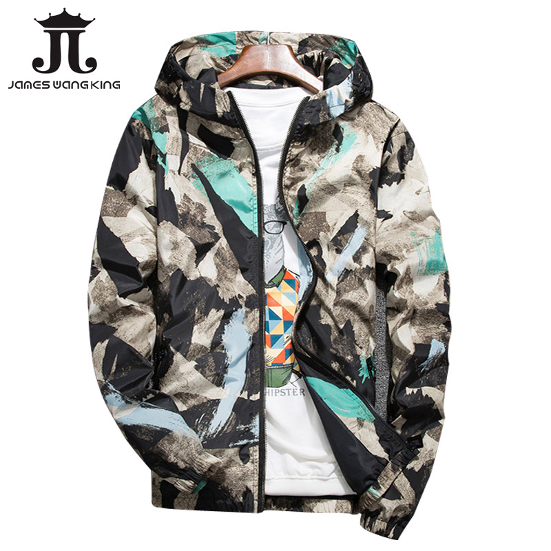 Fashion Mens printing hooded jacket New 2018 Thin military jacket Features Zipper Floral windbreakers jacket plus size 4XL,5XL