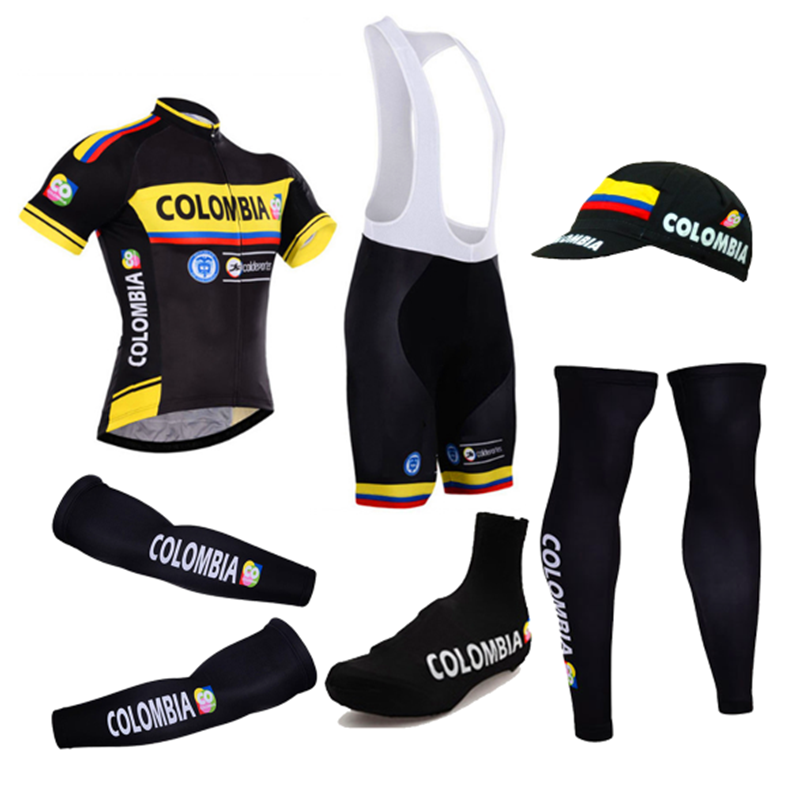 2018 Colombia 6 Pieces Full Set Cycling Jersey Short Sleeve Summer Bicycle  Clothing MTB Bike Maillot 12d7109bf