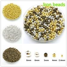 Cinco tamanhos de ouro/prateado/bronze ferro contas de metal jóias descobertas diy contas bola espaçador contas lisas para fazer jóias