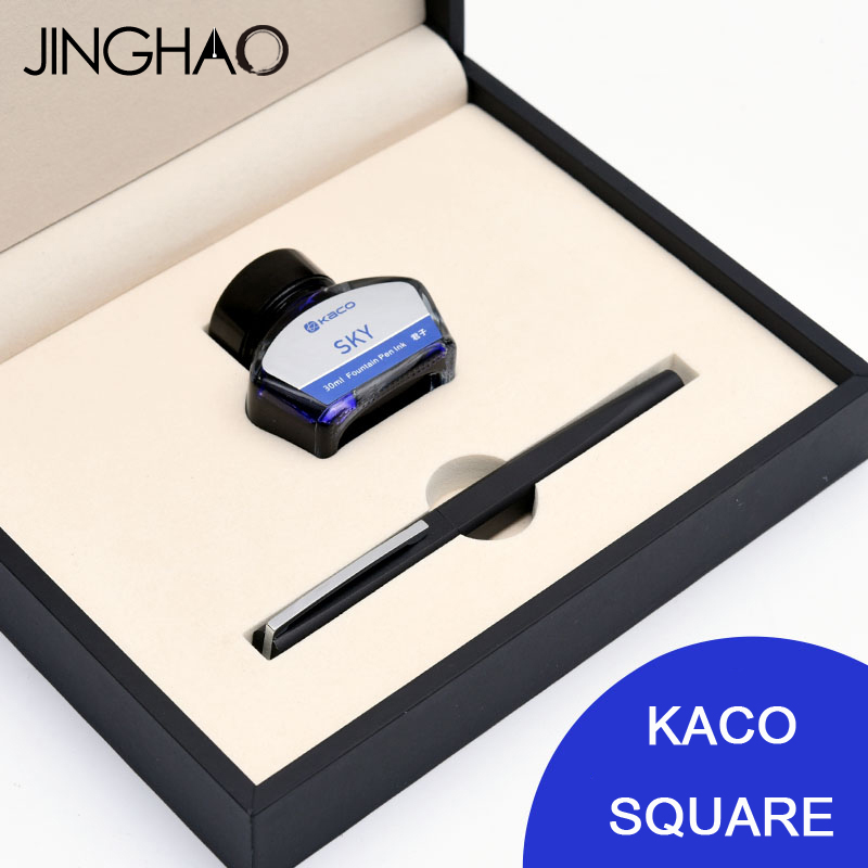 Jinghao KACO SQUARE Luxury Fountain Pen Ink Set 0.5mm F Nib Black Pen + 30ML Blue Ink Metal Gift Pens for Business jinghao kaco exact fountain pen series luxury matte silver and black clip metal ink pens for office 0 5mm f nib gift pen case