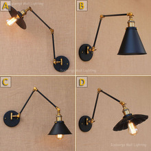 new retro two swing arm left right rotates wall lamp glass iron shade wall sconceswall mount swing arm lamps with edison bulbs