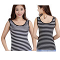 Double U shaped tight tanks Women's Sleeveless Tank Tops summer modal cotton no Sleeve T-Shirt Vest striped free size undershirt