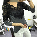 New2016 autumn and winter women  slim all-match lace shirt free shipping