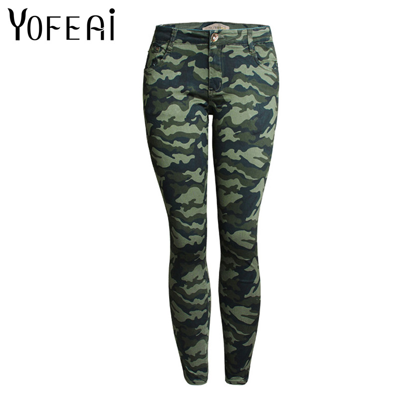 YOFEAI 2017 NEW Women Jeans Fashion Summer Women Wide Slim Skinny jeans Mid Elastic Camouflage Sexy