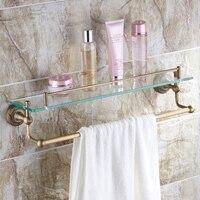Classic Wall Mounted Autique Bronze Bathroom Shelf Single Tier Bath Holder Racks With Towel Rack