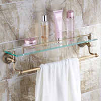 Classic Wall Mounted Autique Bronze Bathroom Shelf Single Tier Bath Holder Racks With Towel Rack