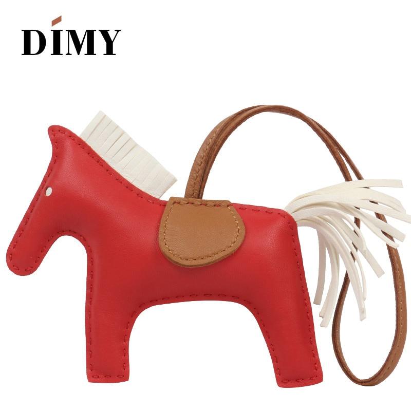 DIMY Handmade Genuine Lamb Leather Mini Pony Bag Cute Horse Charm Lambskin Pendant Christmas Charms For Women's Bags 13*10cm