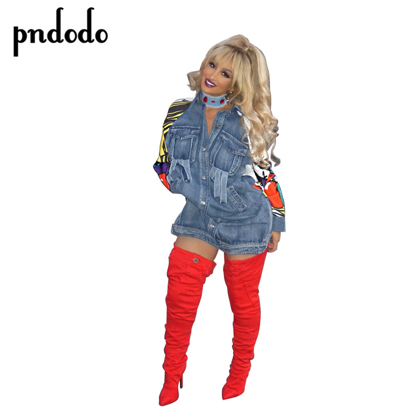 Pndodo 2017 Patchwork Graffiti Long Denim   Jacket   Women Vintage Ripped Pockets   Basic   Coats Women Casual Veste Dashiki female