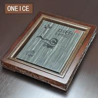 Плоский Ebony чайник из камня с внешней рамки древесины твердой дренаж стол море Кунг фу набор Китайский Кунг Фу бамбука чай лотки