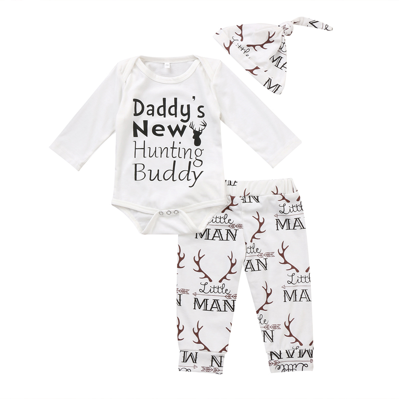 New Fashion Infant Toddler Newborn Baby Girl Clothes Long Sleeve Autmn Cute 3PCS Deer Romper Jumpsuit
