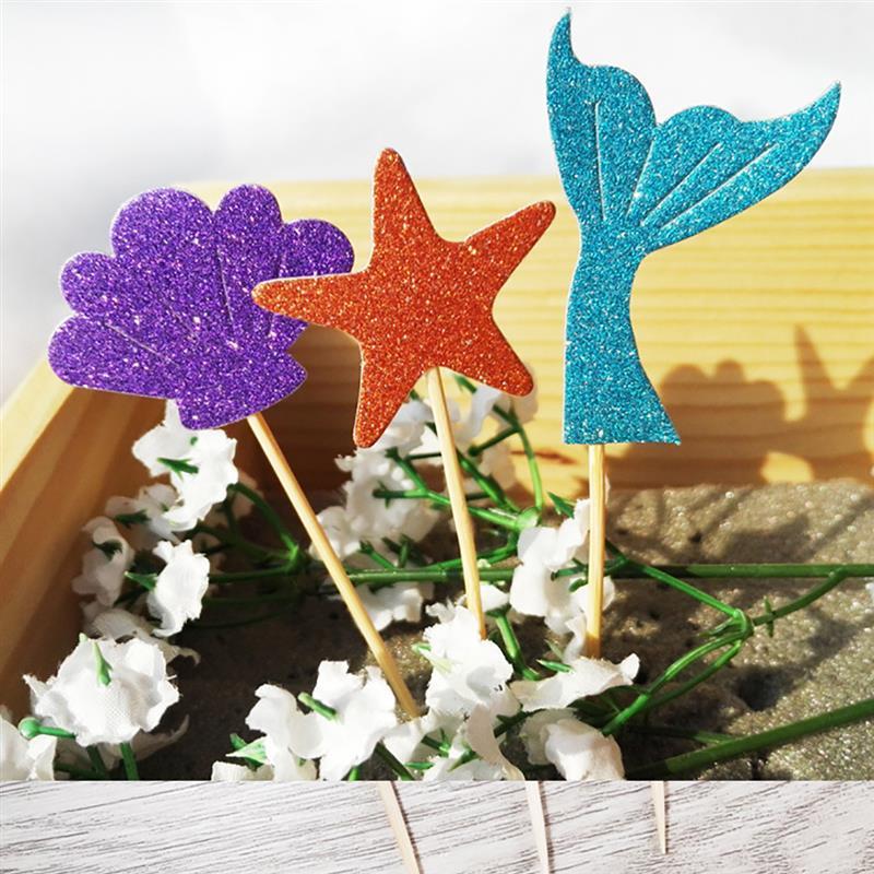 52pcs Cake Topper Glitter Mermaid Seashell Seahorse Starfish Shape Cupcake Topper Cupcake Pick Party