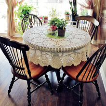 yazi Handmade Pastoral Cotton Hollow Floral Round Tablecloth Thread Crochet Table Cover Home Party Wedding Decor
