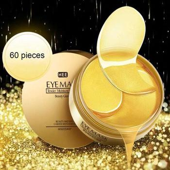 60 sztuk złota/wodorosty maska kolagenowa na oczy twarz przeciw zmarszczkom żel sen złota maseczka płatki pod oczy kolagen nawilżająca maska na oczy pielęgnacja oczu