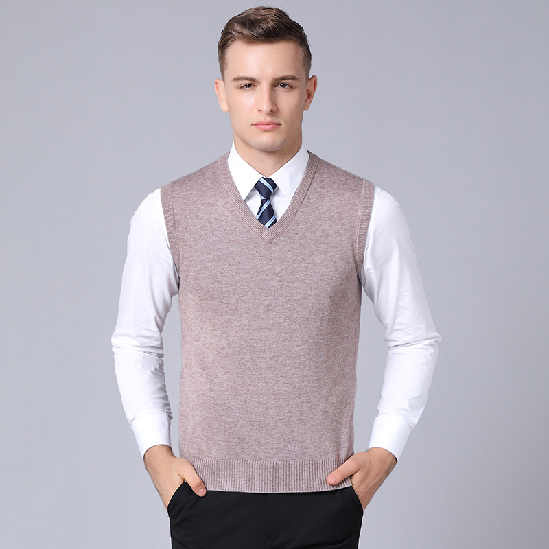 Mens Cashmere Sleeveless Sweater Pullovers Autumn & Winter Solid Male V-neck Wool Sweater Vest