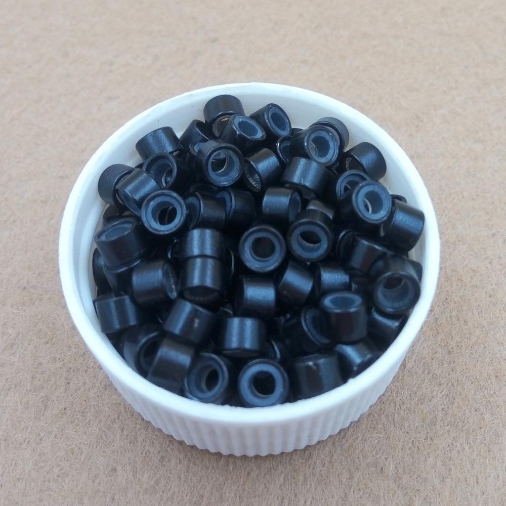 1000st 4.5mm silikonfodrad Micro Links Rings Pärlor - Hårvård och styling - Foto 3