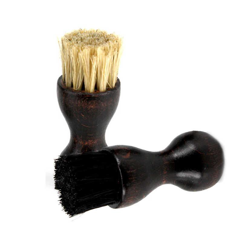 BSAID цилиндрический Форма обуви щётка с деревянной ручкой обувь Блеск свиной волос Кисть Польский щетины лошадь Очищающая салфетка полировальные щетки