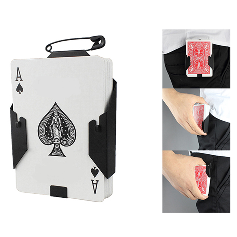 1pcs Manipulation Cards Clip poker holder Stage Magic Tricks BlackCard Device Magic accessories for professional