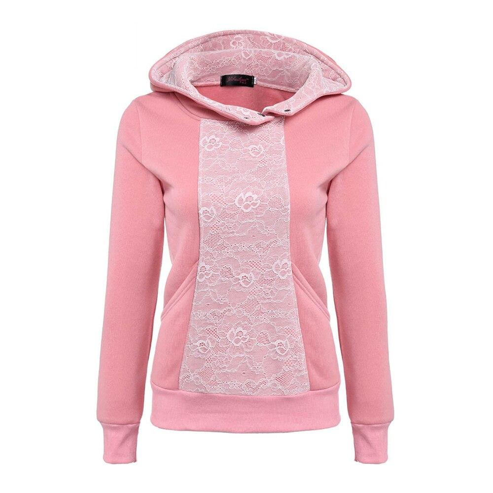 New Autumn Winter Long Sleeve Lace Floral Women Hoody Suit Sweatshirt Female Tracksuit Hood Sportswear Polerone Sweat Femme 2016
