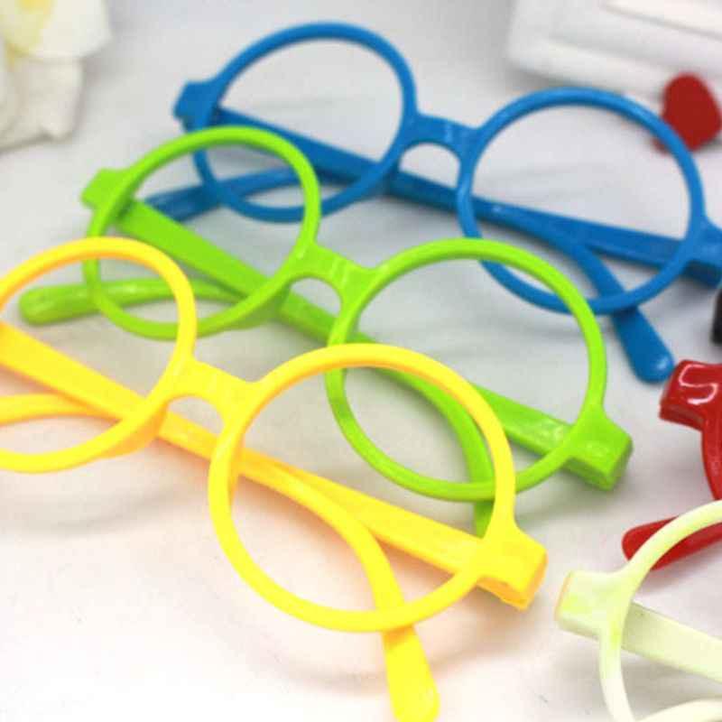 Retro Nerd styl słodkie dziecko okrągłe okulary rama bez soczewek cukierki kolor z tworzywa sztucznego matka córka Cosplay Party kostium okulary