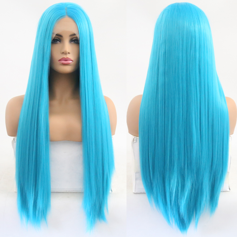 Wig Glueless-Blue-Wig Lace-Front Synthetic Straight White Long for Women with Baby-Hair