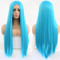 RONGDUOYI High Temperature Glueless Blue Wig 26 Inches Long Straight Synthetic Lace Front Wig for White Women with Baby Hair