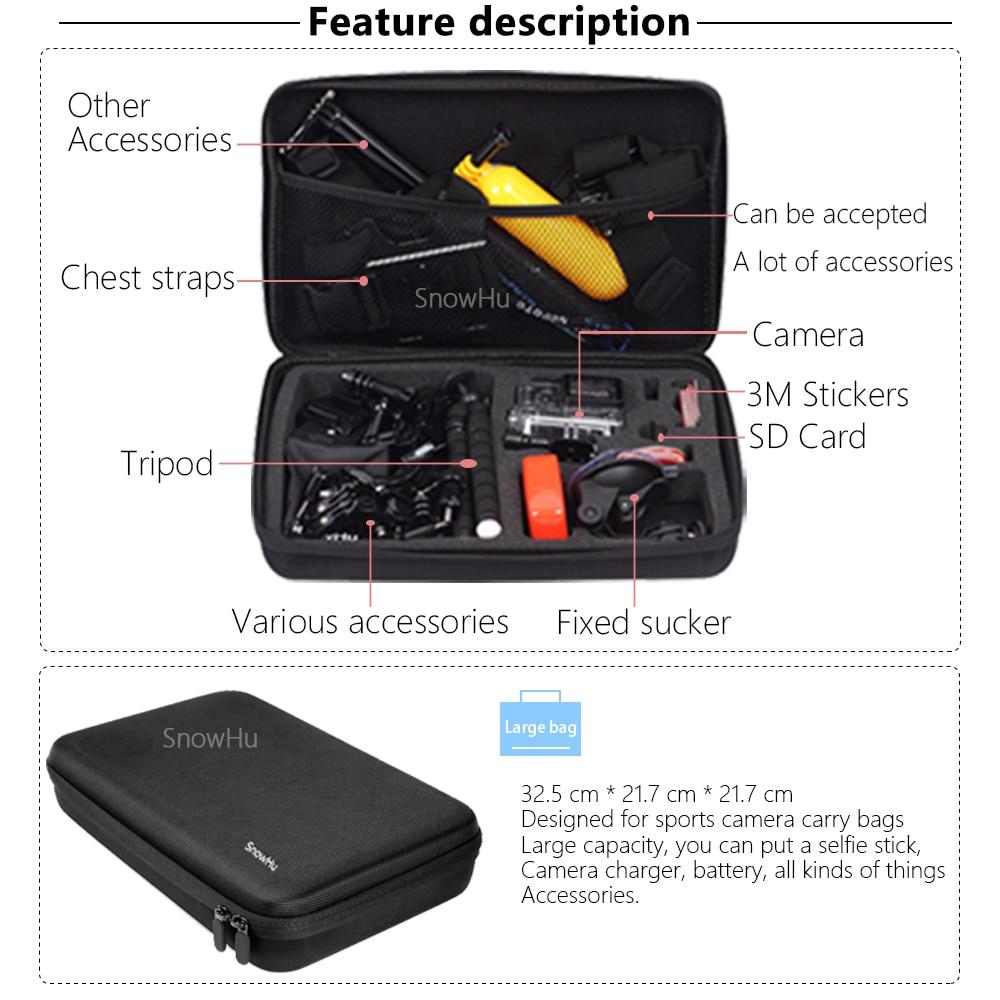 SnowHu para Gopro accesorios set para go pro hero 7 6 5 4 kit de montaje para SJCAM SJ4000 para cámara xiaomi yi para eken h9 trípode GS24 - 6