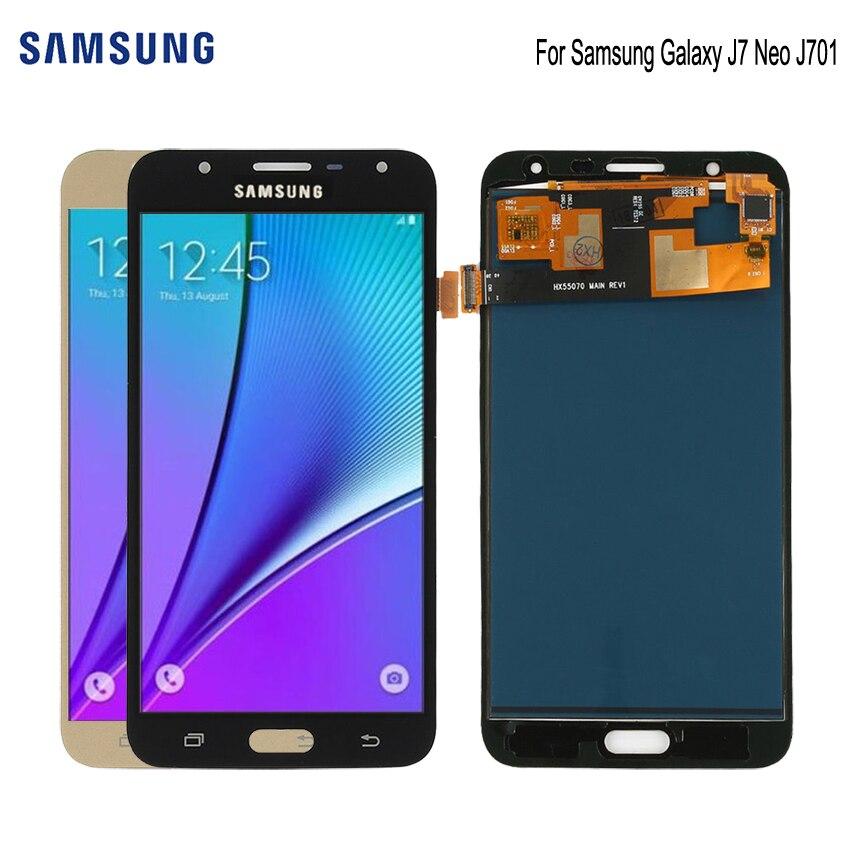 D'ORIGINE SUPER AMOLED Pour SAMSUNG Galaxy J7 Neo Affichage J701F J701M J701MT j701 LCD Digitzer Remplacement Assemblée Pièces Affichage