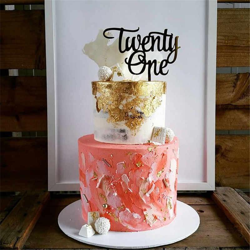 Twenty One 21st Birthday Acrylic Cake Topper 21th Anniversary Wedding Decorations Accessories Rose Gold