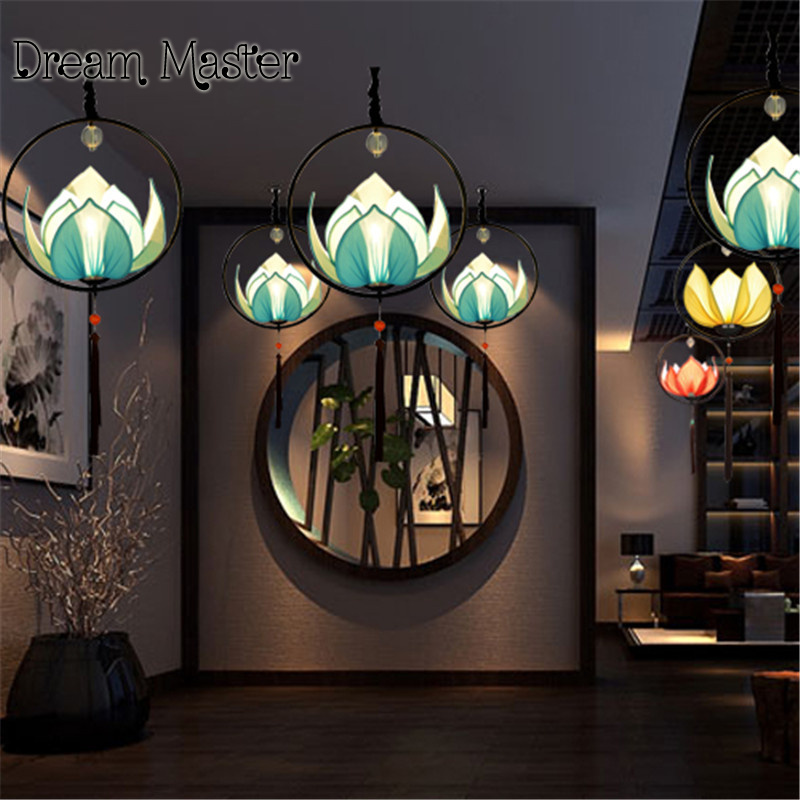 Modern new Chinese style chandelier creative personality decorative lotus lamp imitation classical aisle Restaurant Restaurant L a1 the new chinese style dining room chandelier antique iron bar rectangular cloth chinese modern creative with decorative