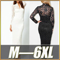 M-6XL Plus Size Maxi Dress 2016 New Spring Sexy Women Black White Lace Dress Long Sleeve Big Sizes Evening Party Dresses 4XL 5XL