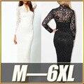 M-6XL Plus Size Maxi Vestido De 2016 Nova Primavera Mulheres Sexy Preto o Laço branco Vestido de Festa À Noite Vestidos de Manga Longa Tamanhos Grandes 4XL 5XL