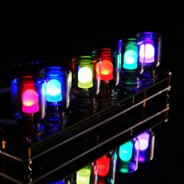 DIY Aurora LED Color Light Cube Chromatography Glass Clock Kit with Gravity sensor Free Shipping